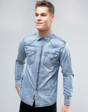 Replay Светлая джинсовая рубашка классического кроя. Цвет: синий