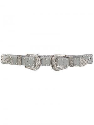 Ремень с заклепками B-Low The Belt. Цвет: серый