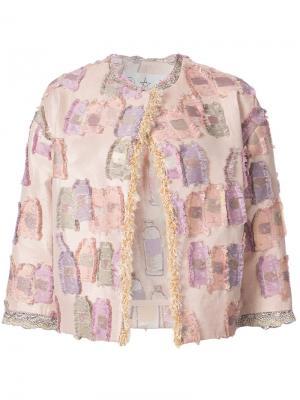 Приталенный пиджак с вышивкой Tsumori Chisato. Цвет: телесный