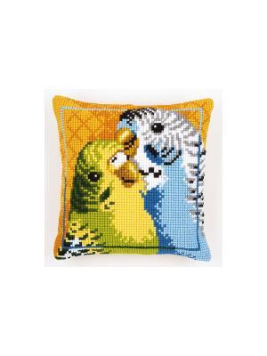 Набор для вышивания лицевой стороны наволочки Волнистые попугайчики 40*40см Vervaco. Цвет: оранжевый, желтый, зеленый, голубой