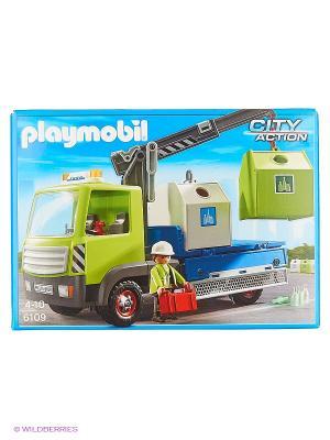 Городские службы: Грузовик для перевозки стеклянной тары с контейнерами Playmobil. Цвет: зеленый, синий