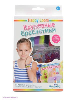 Happy Loom. Кружевные браслетики. Loom. Цвет: белый, зеленый, синий