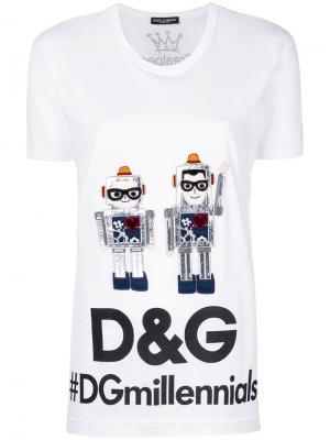 Футболка с роботами Dolce & Gabbana. Цвет: белый