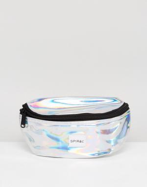 Spiral Серебристая сумка-кошелек на пояс. Цвет: серебряный