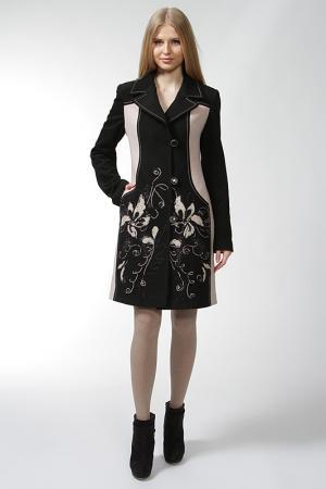 Пальто Yuko-Selena. Цвет: чёрный, молочный
