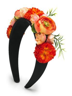 Ободок с пионами, розами и хризантемами Весенняя роскошь Афин Nothing but Love. Цвет: оранжевый, черный