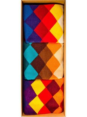 Набор Городской пижон (3 пары в коробке), дизайнерские носки SOXshop. Цвет: лазурный, темно-фиолетовый, красный