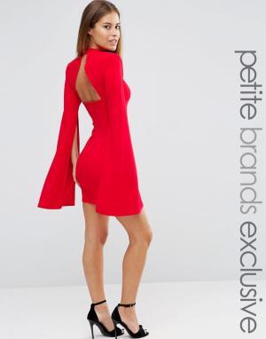John Zack Petite Платье мини с высокой горловиной и открытой спиной. Цвет: красный