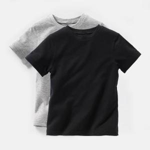 Комплект из 2 футболок, 3-12 лет La Redoute Collections. Цвет: белый + серый меланж,темно-синий + красный,черный + серый меланж