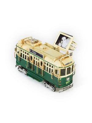 Модель Ретро Трамвай зелёный, с фоторамкой 4х5см PLATINUM quality. Цвет: зеленый