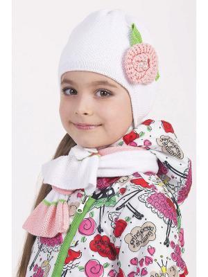 Комплект шапка и  шарф ШАЛУНЫ. Цвет: кремовый
