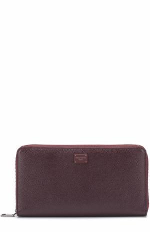 Кожаный бумажник на молнии с отделениями для кредитных карт и монет Dolce & Gabbana. Цвет: бордовый