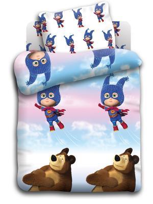 Комплект постельного белья в кроватку бязь Маша супергерой и медведь. Цвет: белый