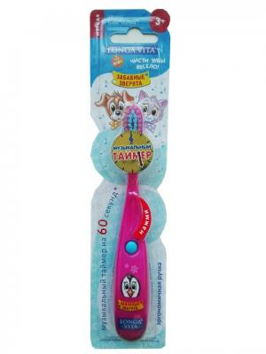 Детская зубная щётка музыкальная, ЗАБАВНЫЕ ЗВЕРЯТА Longa Vita. Цвет: малиновый