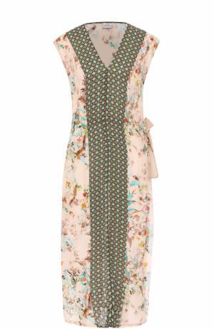 Приталенное платье с принтом и высокими разрезами Deha. Цвет: бежевый