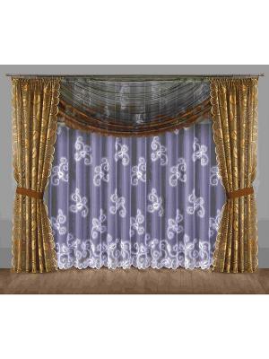 Комплект штор Wisan. Цвет: темно-коричневый, белый