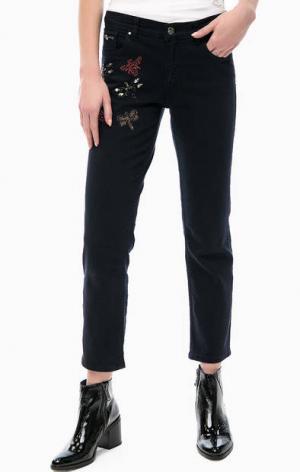 Джинсовые брюки с декором Silvian Heach. Цвет: синий