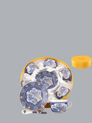 Чайный набор Павлин синий Elan Gallery. Цвет: синий, белый