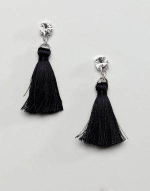 Krystal London Серьги с шелковыми кисточками. Цвет: черный