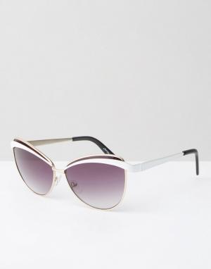 Jeepers Peepers Винтажные солнцезащитные очки кошачий глаз. Цвет: мульти