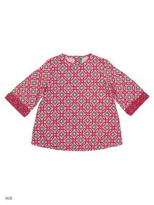 Блуза United Colors of Benetton. Цвет: малиновый, серо-коричневый
