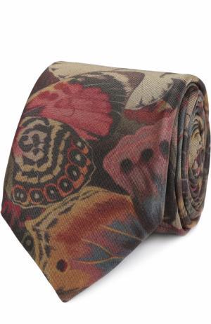 Шелковый галстук с принтом Valentino. Цвет: хаки