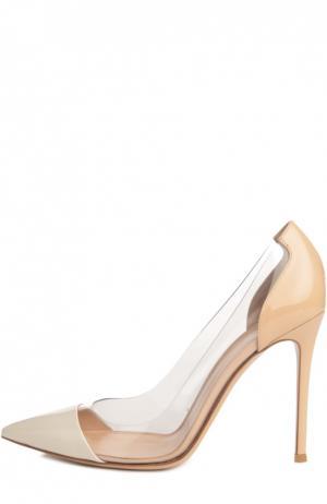 Лаковые туфли Plexi на шпильке Gianvito Rossi. Цвет: кремовый