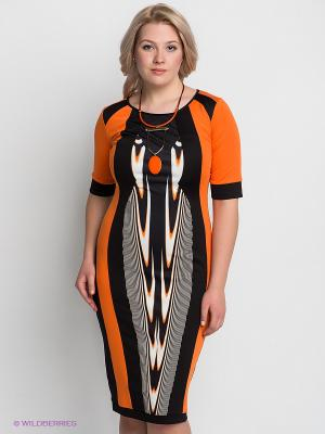 Платье VERDA. Цвет: черный, оранжевый