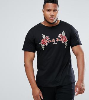 Sixth June Черная футболка с цветочной вышивкой PLUS. Цвет: черный