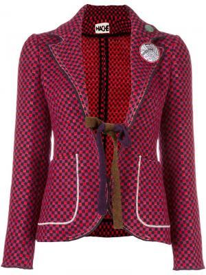 Приталенный пиджак в клетку Hache. Цвет: красный
