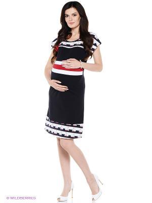 Платье для беременных ФЭСТ. Цвет: синий, белый, красный
