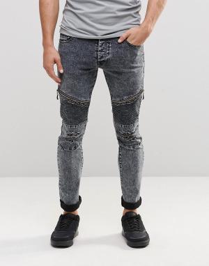 Loyalty & Faith Черные байкерские джинсы с эффектом кислотной стирки. Цвет: черный
