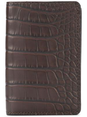 Crocodile effect billfold wallet Pineider. Цвет: коричневый