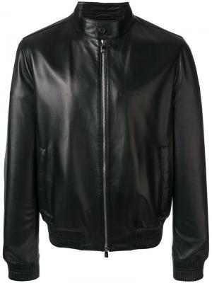Classic zipped leather jacket Corneliani. Цвет: чёрный