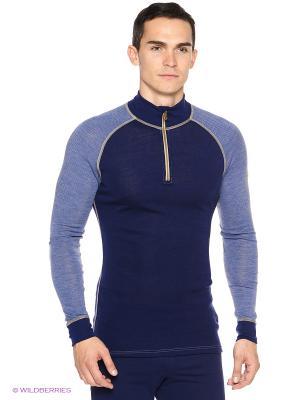 Свитер на молнии Design wool Janus. Цвет: синий