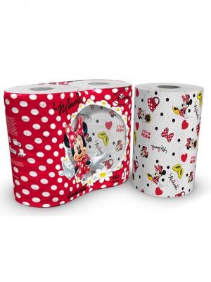 Полотенца кухонные Mikky Mouse 3-х слойные с рисунком, 2 рулона по 80 листов, 18.4 м World Cart. Цвет: белый