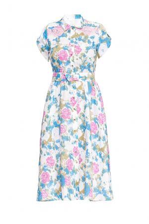 Платье из льна и хлопка 163283 Anna Verdi. Цвет: разноцветный