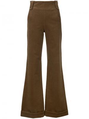 Расклешенные брюки из вельвета N Duo. Цвет: коричневый