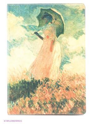 Обложка для паспорта Клод Моне - Дама с зонтиком Mitya Veselkov. Цвет: желтый, зеленый
