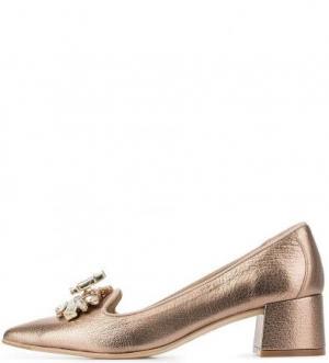 Золотистые кожаные туфли Ras. Цвет: золотистый
