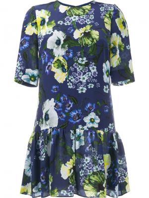 Платье с цветочным узором Erdem. Цвет: синий