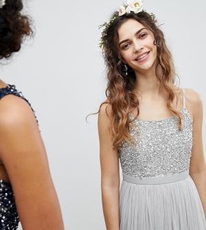 Maya Платье миди с пайетками на лифе и юбкой из тюля Bridesmaid. Цвет: серый
