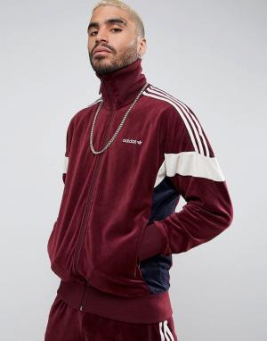 Adidas Originals Красная велюровая спортивная куртка CLR84 BS4669. Цвет: красный