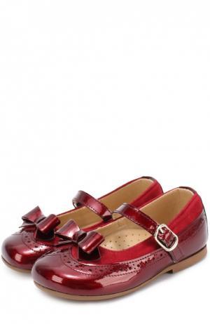 Комбинированные туфли с бантом Clarys. Цвет: бордовый