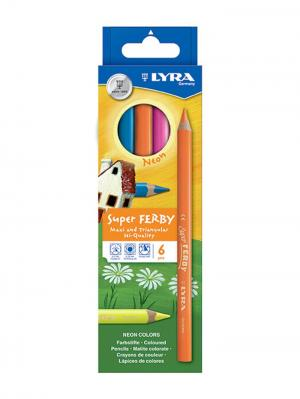 Lyra superferby neon 6цв неоновые цветные карандаши утолщ.. Цвет: желтый, зеленый, синий