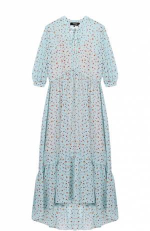Платье-макси с цветочным принтом и укороченным рукавом Poustovit. Цвет: бирюзовый