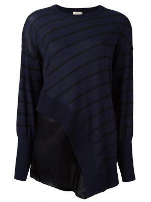 Асимметричная блузка в полоску Nude. Цвет: синий