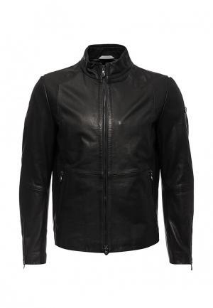 Куртка кожаная Boss Green. Цвет: черный