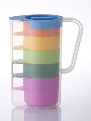 Набор кувшин с кружками Frybest. Цвет: зеленый, салатовый, фиолетовый, оранжевый, желтый