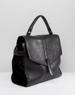 Urbancode Кожаная сумка с откидным клапаном. Цвет: черный
